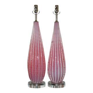 Vintage Murano Pink Opaline Glass Table Lamps by Barbini For Sale