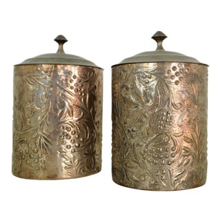Brass Silver Plate Lidded Canisters Jars - A Pair For Sale