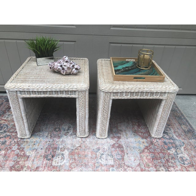 Hollywood Regency Vintage Wicker End Tables - a Pair For Sale - Image 3 of 11