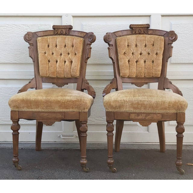 Late 19th Century Victorian Eastlake Carved Wood Original Velvet Chairs - a Pair For Sale - Image 13 of 13