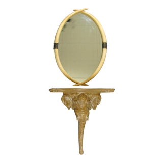 Elephant Console Table and Tusk Mirror by Chapman For Sale