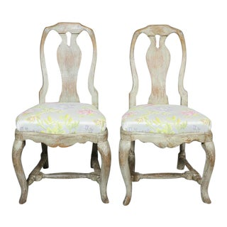 Set of Four Swedish Rococo Painted Dining Chairs