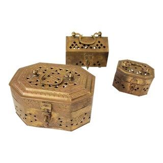 Vintage Indian Brass Cricket Boxes - Set of 3