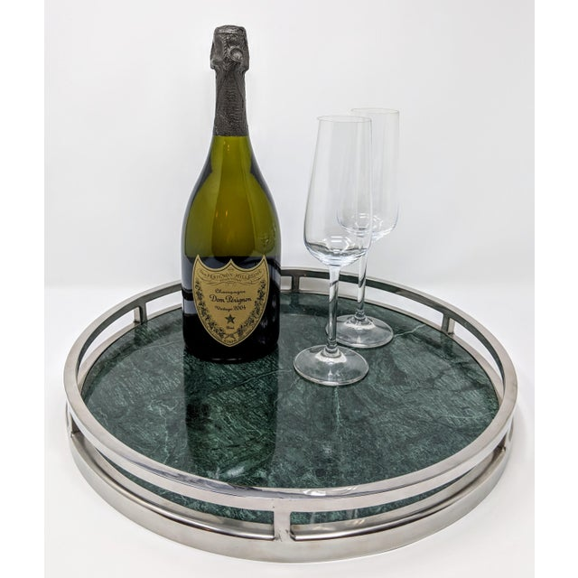 Hollywood Regency Jonathan Adler Inspired Green Marble and Chrome Serving Tray For Sale - Image 3 of 10