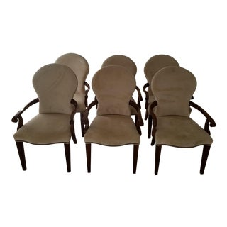 Cream Upholstered Armed Dining Chairs - Set of 6