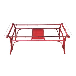 1970's Vintage Chinese Red Metal Coffee Table For Sale