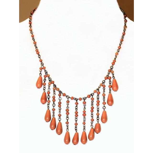 1920s Deco Era Coral Celluloid Drop Bib Necklace For Sale - Image 4 of 4