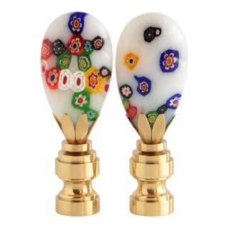 Millefiori Glass Lamp Finials on Shiny Brass Bases - a Pair For Sale