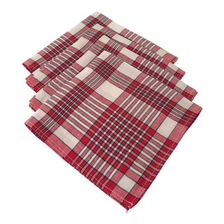 20th Century Country Red &White Plaid Dinner Napkins - Set of 4 For Sale