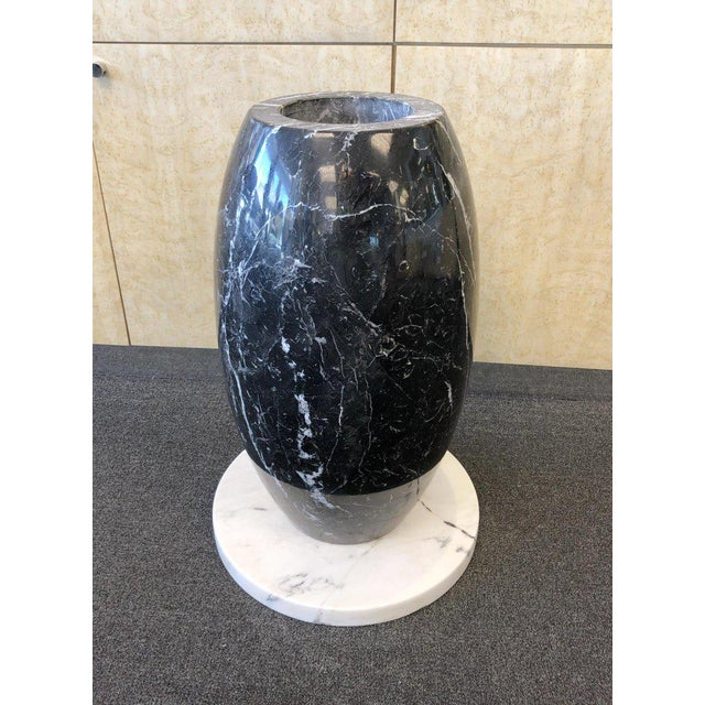1980s 1980s Italian Carrara and Black Marble Dining Table For Sale - Image 5 of 8