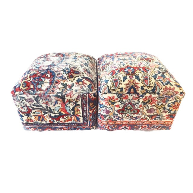 Ottomans Upholstered with Antique Kirman Savonnerie Rug - a Pair For Sale In New York - Image 6 of 7