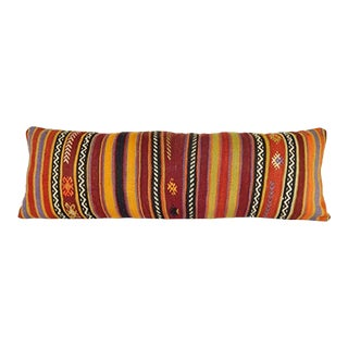 16''x 48'' Bohemian Bedding Wool Kilim Pillow Cover, Southwest King Pillow, Shams Long Pillows for Bed, Turkish Kilim Pillow Cover (40 X 120 Cm) For Sale