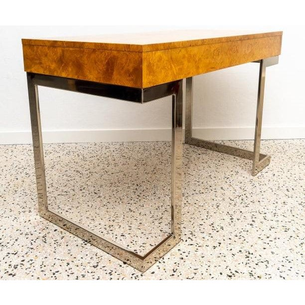 1970s Burlwood and Nickel Writing Desk by Milo Baughman For Sale - Image 5 of 12