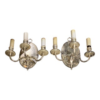 1920s English Silver Plated Sconces - a Pair For Sale
