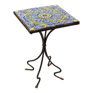 20th Century Spanish Tile and Iron Side Occasional Table For Sale