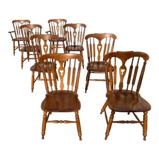 Vintage Heywood Wakefield Old Colony Colonial Dining Chairs - Set of 8 For Sale