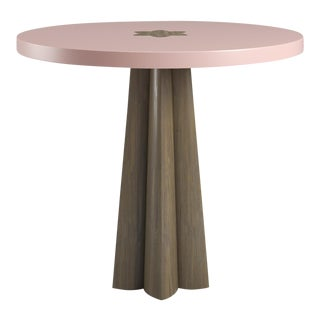 Danielle Smoked Wood Oak Side Table - Coral Dust For Sale