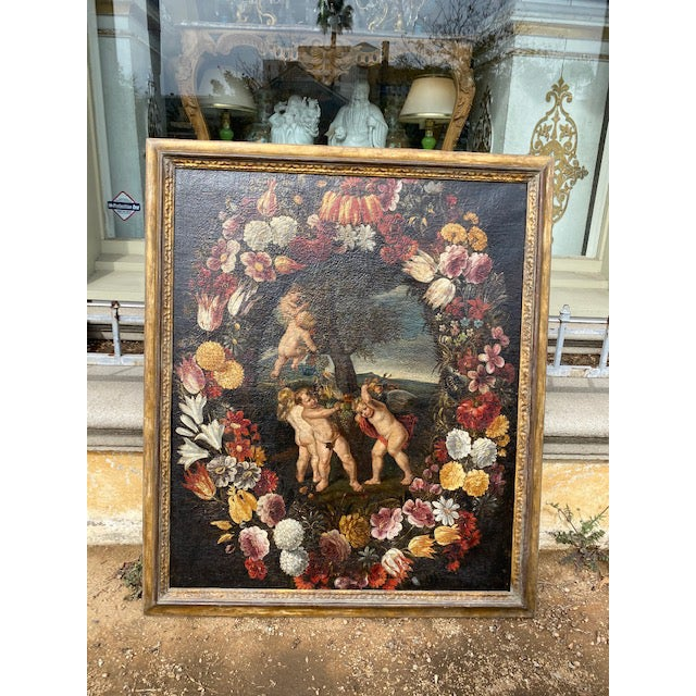 17th C. Italian Flemish Cherub Painting With Floral Wreath Motif For Sale - Image 9 of 9