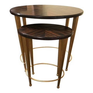 Mid-Century Modern Caracole Furniture Quarter Matched Ebony Wood Nesting Tables - Set of 2 For Sale