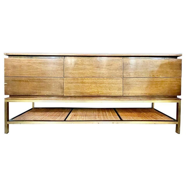 Mid-Century Modern McCobb Cabinet With Glass Top Brass Frame and Caning For Sale - Image 13 of 13