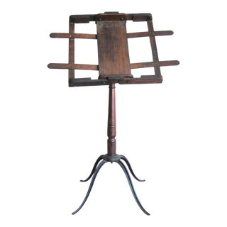 Antique Music Stand, Wood and Cast Iron, Book Display For Sale