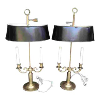 Mid C. Pair of French Bouillotte Lamps For Sale