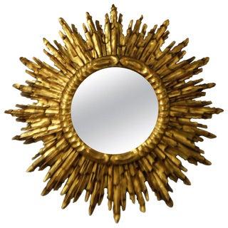 Gold Leaf Gilded Wood Sunburst Mirror, France Circa 1920 For Sale