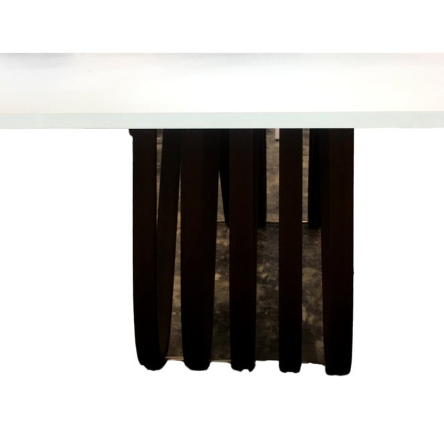 Contemporary Tonin Casa Large Italian Glass Top Table With Wood Base For Sale - Image 3 of 8