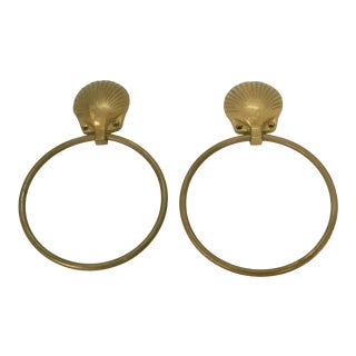 Mid-Century Hollywood Regency Solid Brass Shell Themed Hand-Towel Holders - Set of 2 For Sale
