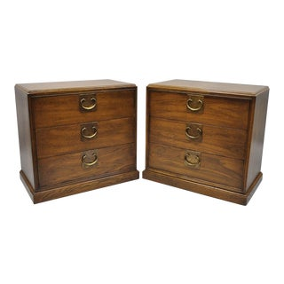 1960s Chinoiserie John Stuart Oak Nightstand Bedside Chests - a Pair For Sale