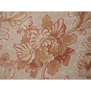 Vintage Fabric French Curtain Panel C1920 Large Scale Design 2 Yards Long For Sale