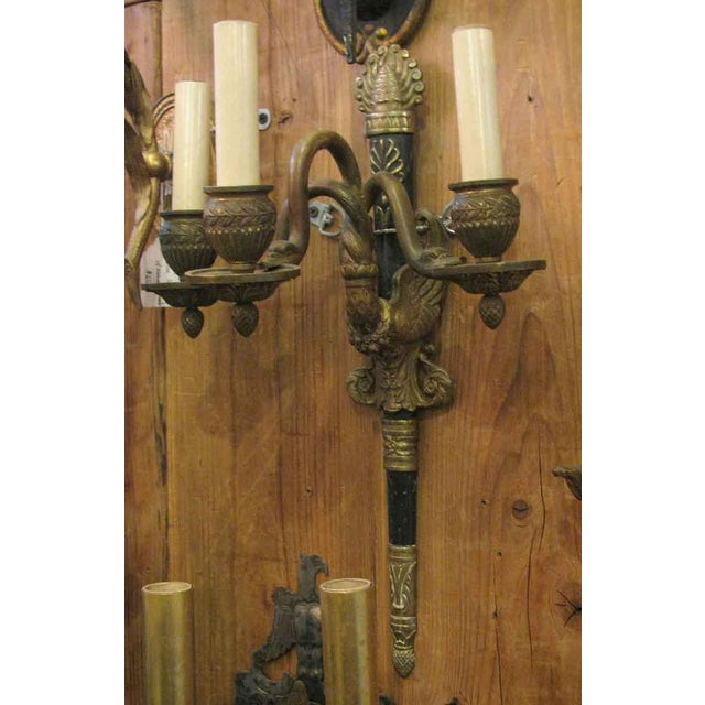 Antique three armed French sconce. This needs rewiring. Sold as a single sconce.