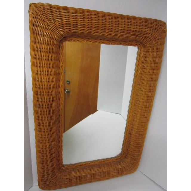 Vintage Lacquer Wicker Rattan Wall Mirror - Image 3 of 11