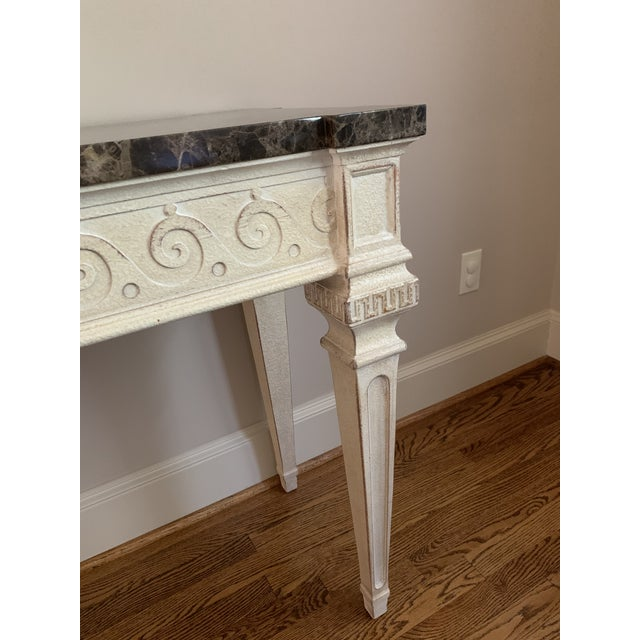 Brown Vintage Louis XVI Style Henredon Ivory/Brown Marble Console For Sale - Image 8 of 13