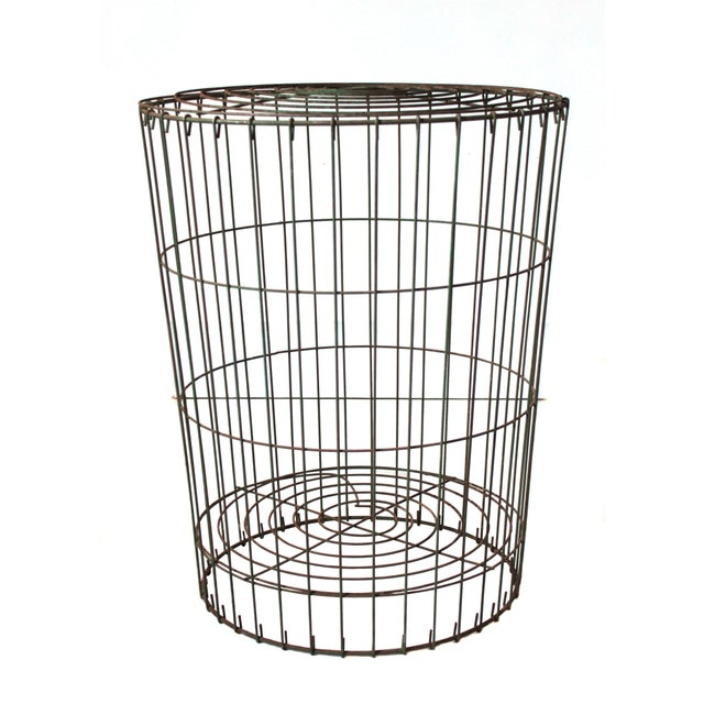 Industrial Early 20th Century Antique Metal Storage Basket For Sale - Image 3 of 3