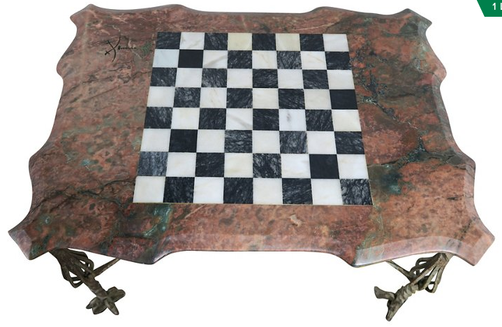 Delicieux Iron U0026 Marble Chess Board Top Table   Image 6 ...