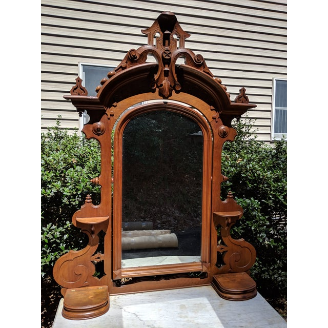 Brown 20th Century Renaissance Revival 3-Drawer Marble Top Walnut Dresser & Vanity Mirror For Sale - Image 8 of 13
