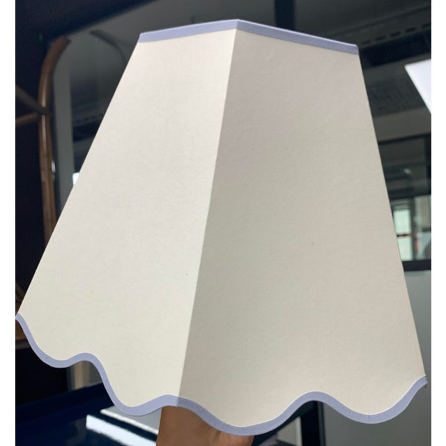 Transitional Rita Konig Exclusive Hexagonal Lampshade in Cream with Scalloped Edging For Sale - Image 3 of 3