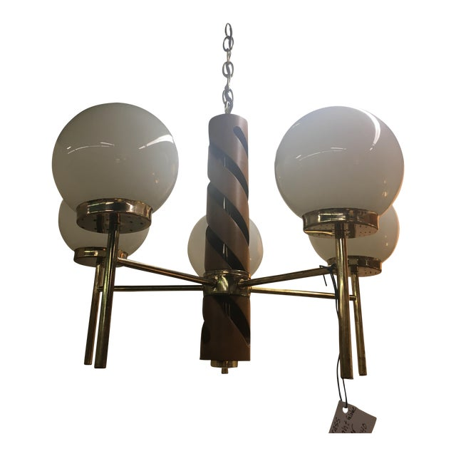 Teak & Brass Globe Ceiling Light - Image 1 of 7