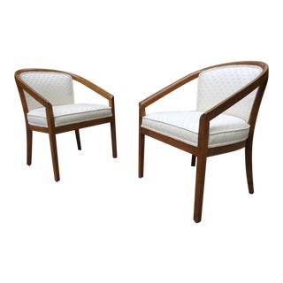Mid Century Barrel Back Accent Side Armchairs ~ a Pair For Sale