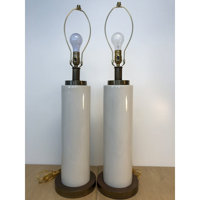 Gregorius Pineo Vintage Ceramic Center and Metal Base and Top Table Lamps with Original Silk Shade - a Pair For Sale - Image 4 of 9