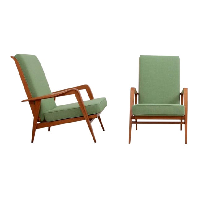 Pair of New Upholstered Etienne Henri Martin Lounge Chairs For Sale