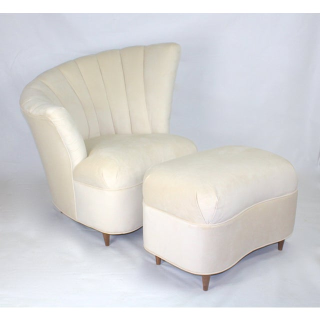 Vintage Hollywood Regency Fan Back Chair & Ottoman - Image 2 of 5