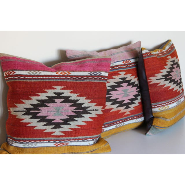 18'' Antique Turkish Kilim Rug Pillows - Set of 3 For Sale - Image 4 of 6