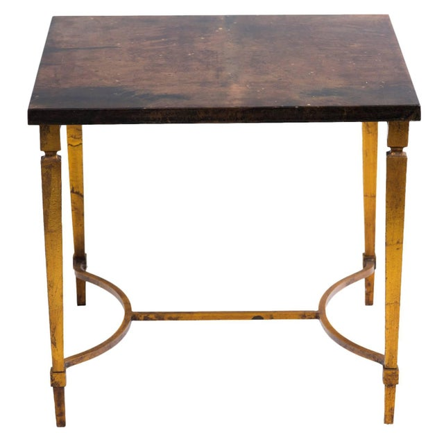 Gold Aldo Tura Goat Skin Side Table on Gold Finish Metal Base For Sale - Image 8 of 8