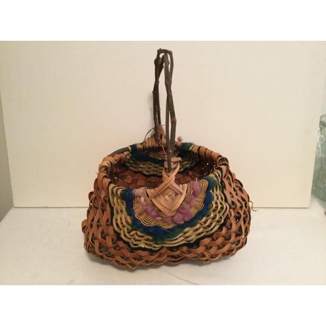 Vintage Rustic Cottage Style Basket For Sale - Image 4 of 7