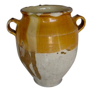 Antique French Rustic Country Pottery Confit Pot For Sale