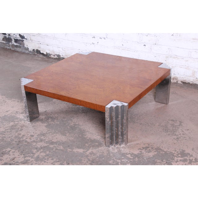 Milo Baughman Style Mid-Century Modern Burl Wood and Chrome Cocktail Table For Sale - Image 9 of 9