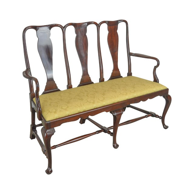 Queen Anne Custom Mahogany Triple Back Settee For Sale - Image 13 of 13