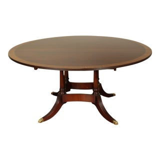 """Sheraton Style 64"""" Round Mahogany Banded Top Expandable Dining Table For Sale"""